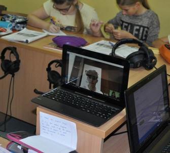Video konferencja między uczniami SP3 a Szkołą w Austrii